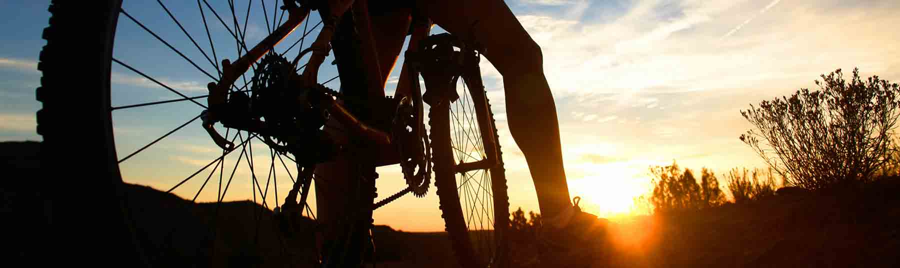 rider and bicycle at sunset