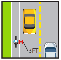 Bicyclist riding on the road, allow 3 ft. space between vehicles.